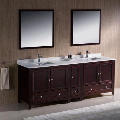 "Oxford Collection Fvn20-361236mh 84"" Traditional Double Sink Bathroom Vanity With 5 Soft Close Doors 3 Soft Close Dovetail Drawers And Tapered Legs In"