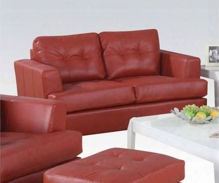 """Platinum 15101b 63"""" Loveseat With Loose Back Cushions Block Legs Wood Frame Track Arms Tufted Back And Bonded Leather Upholstery In Red"""