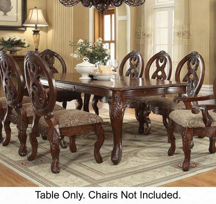 "Rovledo Collection 60810 76"" - 96"" Extendable Dining Table With 20"" Xetension Leaf Carved Details Queen Anne Style Legs And Wood Construction In Cherry"