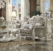 52126 Versailles Loveseat with Pillows Included Vintage Grey PU Leather Upholstery Button Tufted Tight Back Reversible Seat Cushions in Bone