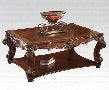 82002 Vendome Square Coffee Table with Bottom Shelf Solid Wood Leg and Carved Apron in