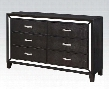 "Elberte 22795 61"" Dresser with 6 Drawers Mirror Trim Accent Crystal Like Handles Crocodile PU Upholstery Solid Pine and Plywood Construction in Black"