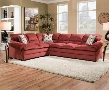 "Roselyn 52350 118"" Sectional Sofa with Left Arm Facing Sofa Wedge Right Arm Facing Sofa Made in USA Accent Pillows and Fabric Upholstery in Miranda Garnet"