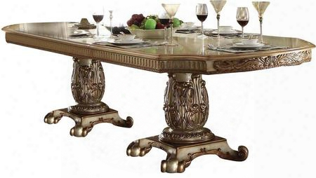 "Vendome Collection 63000 84"" - 120"" Extendable Dining Table With 2 Extension Leaves Double Pedestal Poly Resin Decor (fiberglass) Aspen And Poplar Wood"