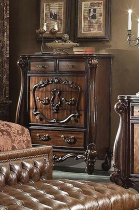 "Versailles 21106 47"" Chest With 5 Felt Lined Drawers Carved Apron Decorative Metal Hardware And Solid Wood Construction In Cherry"