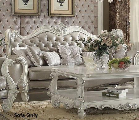 """Versailles 52125 93"""" Sofa With 7 Pillows Vintage Grey Pu Leather Upholstery Reversibleseat Cushions And Button Tufted Curved Back In Bone"""