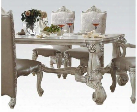 "Versailles Collection 61145 96"" Diinng Table With Scrolled Feet Ornamental Detail Fiberglass Material Aspen And Poplar Wood Construction In Bone White"