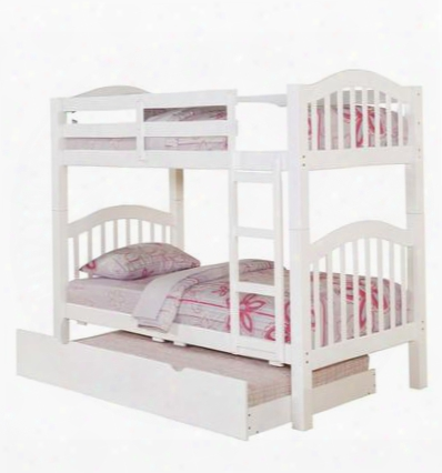 02354kdtr Heartland Twin Over Twin Bunk Bed + Trundle With Built-in Ladder Slat Design Hardwood Solids And Veneers In
