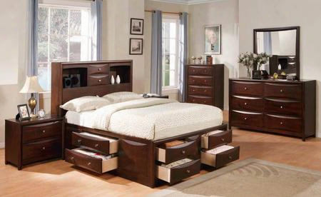 04067ekdmc2n Manhattan Storage Eastern King Size Bed + Dresser + Mirror + Chest + 2 Nightstands In Espresso