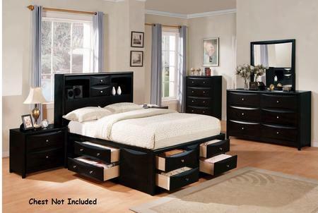 14102ckdm2n Manhattan Storage California King Size Bed + Dresser + Mirror + 2 Nightstands In Black