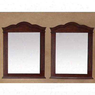 "26-001-da-5905 Pair Of 32"" X 40"" Mirrors With Hand Carving Molding Details And Solid Birch Frame In Cherry"