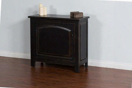 "2271b 40"" Accent Chest With Arch Door Molding Details And Distressed Detailing In Black"