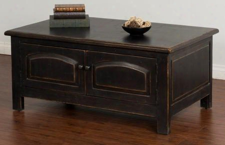 "2271b-c 50"" Accent Coffee Table With 2 Arch Doors Molding And Distressed Detailing In Black"