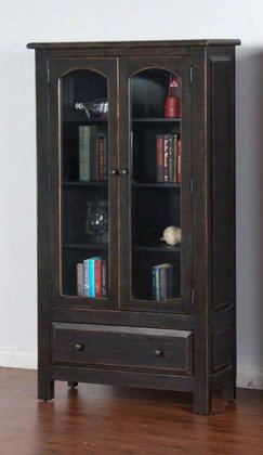 """2271b-dc2 40"""" Display Cabinet With 2 Glass Doors 4 Shelves And Drawer In Black"""