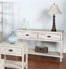 2272w-s White Sofa Table With 2 Drawers Vintage Designer Paint And Distressed Mohagany Solids And Veneers In White