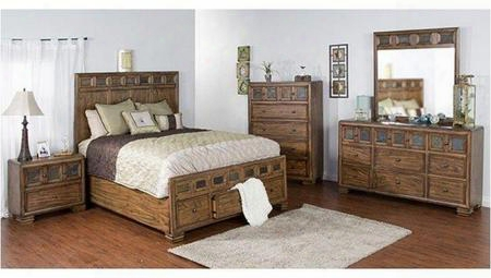 2378bm-ek Coventry Eastern King Bed With Full-extension Drawer Slides Square Decorative Knobs And Slate Accents In Burnished