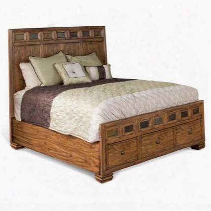 2378bm-q Coventry Queen Bed With Full-extension Drawer Slides Square Decorative Knobs And Slate Accents In Burnished Mocha