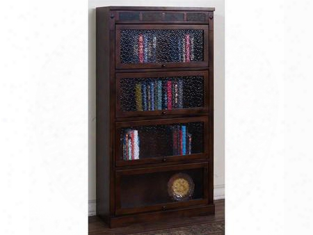 """2952dc-l4 32"""" Santa Fe Lawyers Bookcase With Natural Slate And Adjustable Shelves In Dark"""