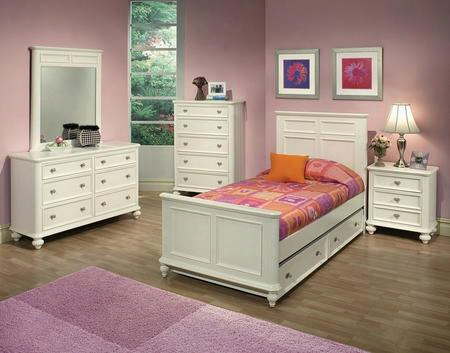 30005tdmcn Athena Twin Size Bed + Dresser + Mirror + Chest + Nightstand In