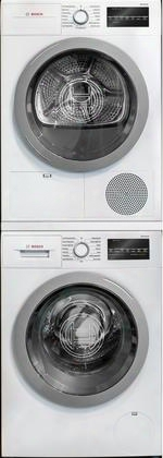 "500 Series White Front Load Compact Stacked Laundry Pair With Wat28401uc 24"" Washer Wtg86401uc 24"" Electric Condensation Dryer And Wtz20410 Stacking"