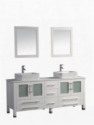 -8149w Malta 61 Double Sink Vanity Bathroom Set