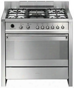 """A1pxu 36"""" Freestanding Dual Fuel Cavity """"opera"""" Range With 3.2 Cu. Ft. Capacity 10 Cooking Modes """"ever-clean"""" Enameled Oven Interior And 5 Gas Burners In"""