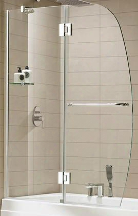 """Aurora 0asbs02-a 48""""w X 58""""h Frame-less Shower Door With Premium 0.375"""" (10mm) Thick Clear Tempered Glass And Hardware Finished In"""