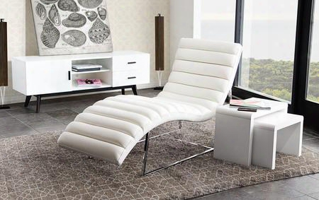 "Bardot Bardotcawh 58"" Chaise Lounge With Channel Tufted Design Sensuous Curves Stainless Steel Frame And Bonded Leather Upholstery In White"
