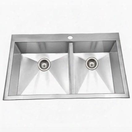 Bcd-3322 Bellus Series Zero Radius Topmount Stainless Steel 1-hole 50/50 Double Bowl Kitchen