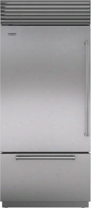 "Bi-36uid/s/ph-lh 36"" Built-in Bottom Freezer Refrigerator With Internal Dispenser 21.7 Cu. Ft. Total Capacit Y Automatic Ice Maker And Air Purification"