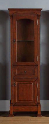 "Brookfield Collection 147-114-5086 20"" Linen Cabinet With Antique Brass Hardware Top Glass Door Middle Drawer And Bottom Wood Door In Warm"