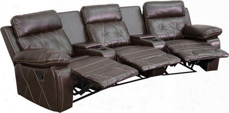 Bt-70530-3-brn-cv-gg Real Comfort Series 3-seat Reclining Brown Leather Theater Seating Unit With Curved Cup
