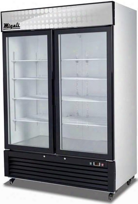 "C-49fm 55"" Competitor Series Commercial Freezer With 49 Cu. Ft. Capacity Glass Door Bottom Mount Compressor White Powder Steel Exterior And Interior And"