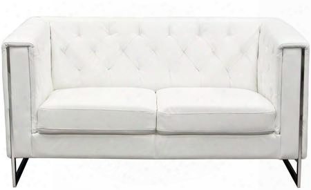 "Chelsea Chelseasowh 60"" Loveseat With Chrome Metal Accent Attached Cushions Track Arms And Leatherette Upholstery In White"