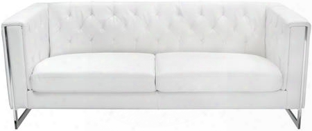 "Chelsea Chelseasowh 80"" Sofa With Chrome Metal Accent Attached Cushions Track Arms And Leatherette Upholstery In White"