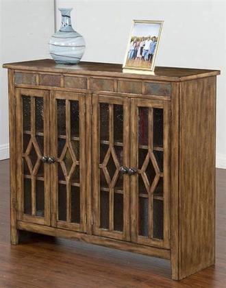 "Coventry Collection 2988bm-4 48"" Bookcase With Natural Slate Accents Waterfall Glass And Diamond Deco In Burnish Mocha"