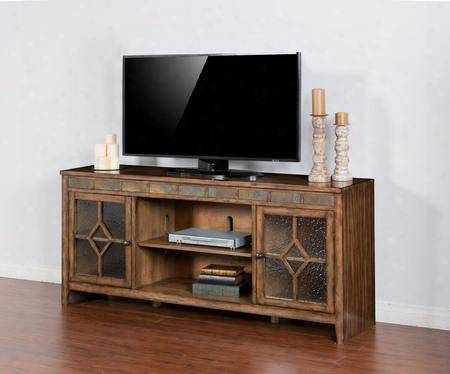 "Coventry Collection 3553bm-72 72"" Tv Console With 2 Waterfall Glass Doors Diamond Decoration And Natural Slate Burnish Mocha"