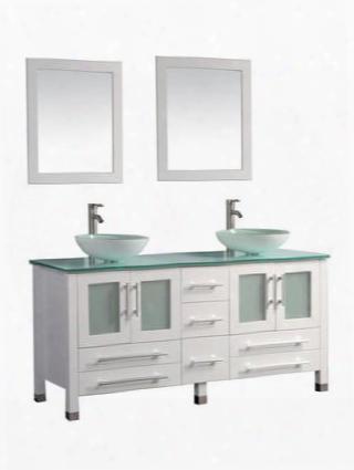 Mtd-8119bw Cuba 71 Double Sink Bathroom Vanity Set