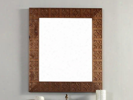 "Mykonos Collection 550-m37-cin 37"" X 42"" Mirror With Hand Carvings Beveled Glass And Birch Wood Frame In"