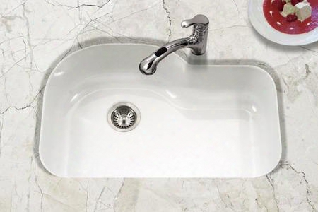 Pch-3700 Wh Porcela Series Porcelain Enamel Steel Undermount Offset Single Bowl Kitchen Sink