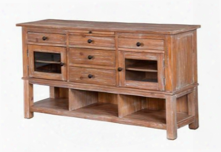 """Sandalwood Collection 2471sw 66"""" Server With Wine Bottl Eholders Pullout Tray And 5 Drawers In Sandalwood"""
