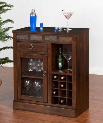 "Santa Fe Collection 1918dc 32"" Mini Bar With 12 Bottle Rack Waterfall Glass Door And Glass Hanger In Dark Chocolate"