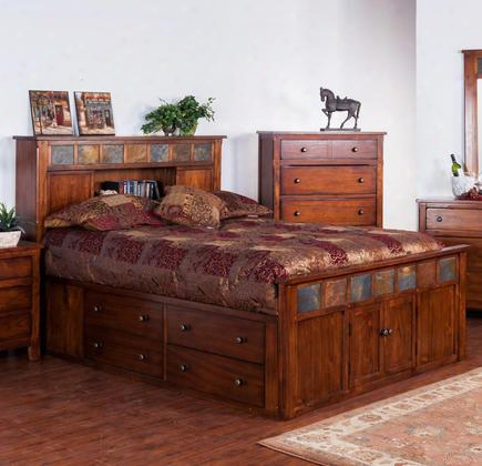 "Santa Fe Collection 2334dc-sq 96"" Queen Storage Bed With 2 Deep Storage Drawers 4 Regular Drawers And Bookcase Headboard In Dark Chocolate"