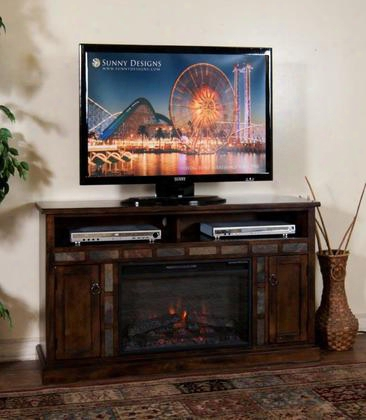 "Santa Fe Collection K3490dc-54f 54"" Fireplace Media Console With Heater Insert 2 Media Compartments And 2 Doors In Dark Chocolate"