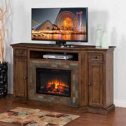 "Santa Fe Collection K3551dc-72f 72"" Fireplace Media Console With Heater Insert 2 Utility Drawers And 2 Doors In Dark Chocolate"