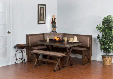 Savannah Collection 0222ac 4-piece Breakfast Nook Set With Side Bench Long Bench Short Bench And Table In Anfique Charcoal
