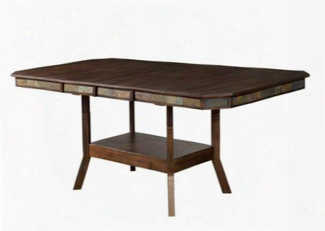 "Savannah Collection 1151ac 60"" - 90"" Dining Table With Two 15"" Butterfly Leaves Bottom Shelf And Adjustable Height In Antique Charcoal"