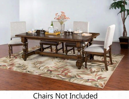 "Savannah Collection 1383ac 86"" - 122&quuot; Dining Table With Two 18"" Leaves Stretchers And Turned Legs In Antique Charcoal"