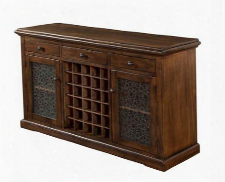 "Savannah Collection 1921ac 60"" Server With 3 Drawers 2 Glass Doors And 30 Wine Rack In Antique Charcoal"