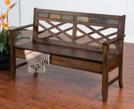 "Savannah Collection 2276ac 56"" Bench With Tapered Legs Storage Under Wooden Seat And Natural Slate Accents In Antique Charcoal"